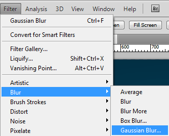 Filter Blur Gaussian Blur settings in Photoshop