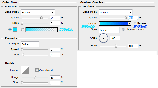 Blending options gradient and outer glow