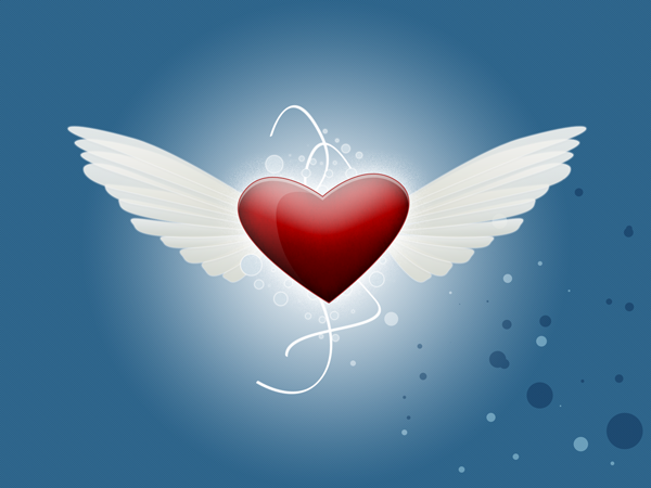 Blue and light blue circles as a background to a red heart and two wings design