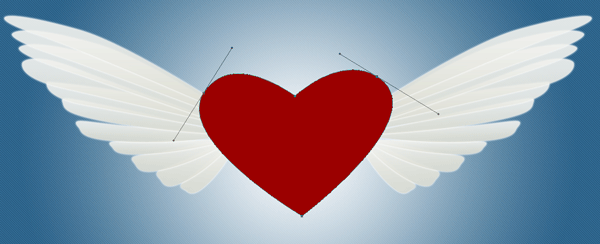 Red heart design with two wings