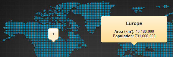 World map tooltips with CSS3 and jQuery