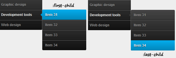 :first-child and :last-child list elements in a dropdown menu
