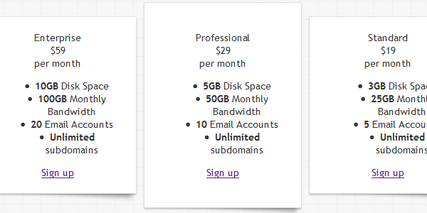 Designing an effective pricing table for Preferred plans