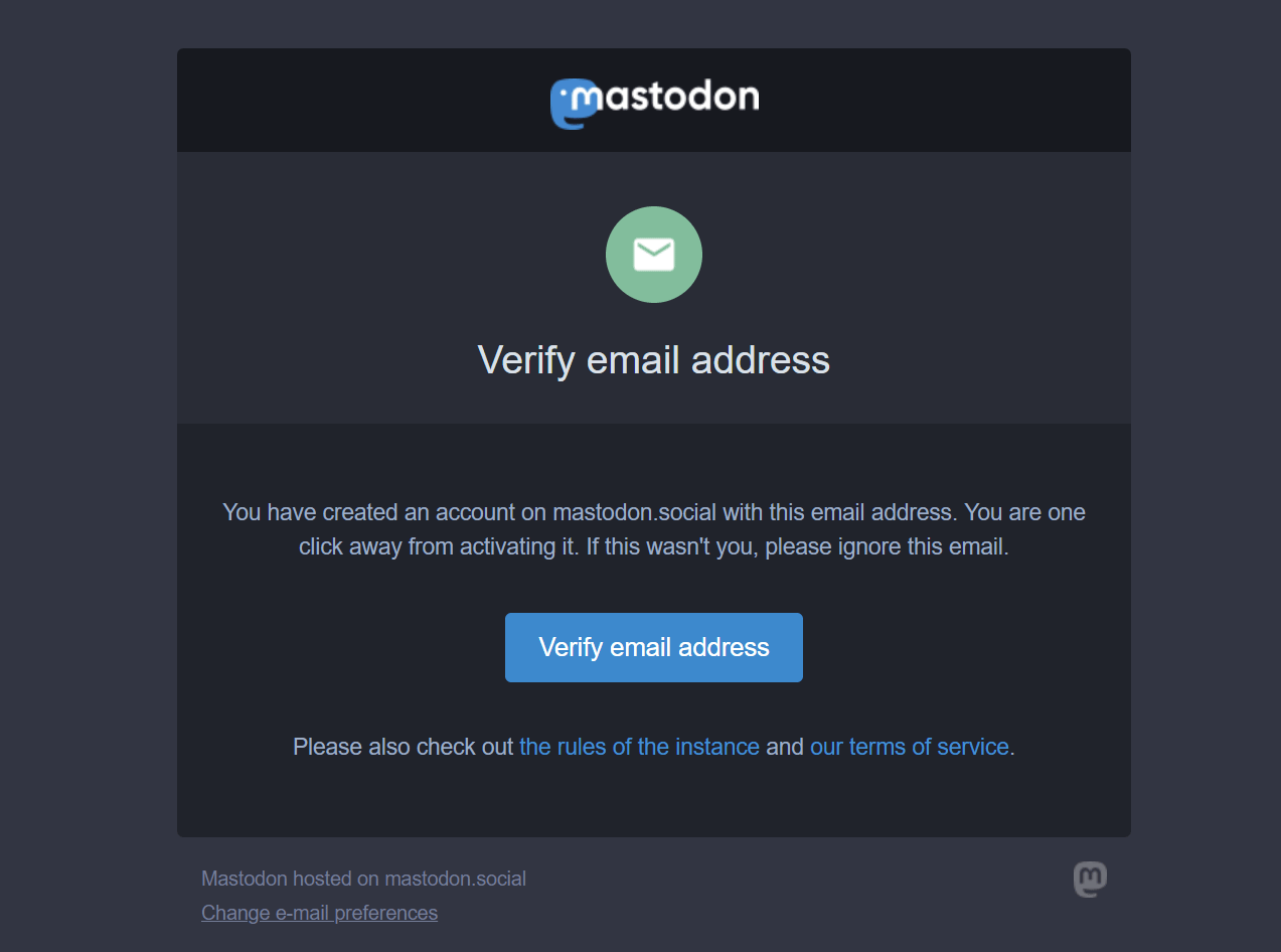 Mastodon sign up email preview