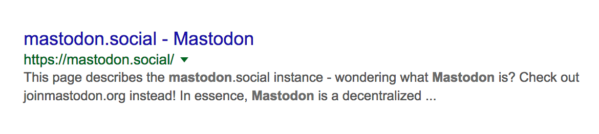 Mastodon missing meta description