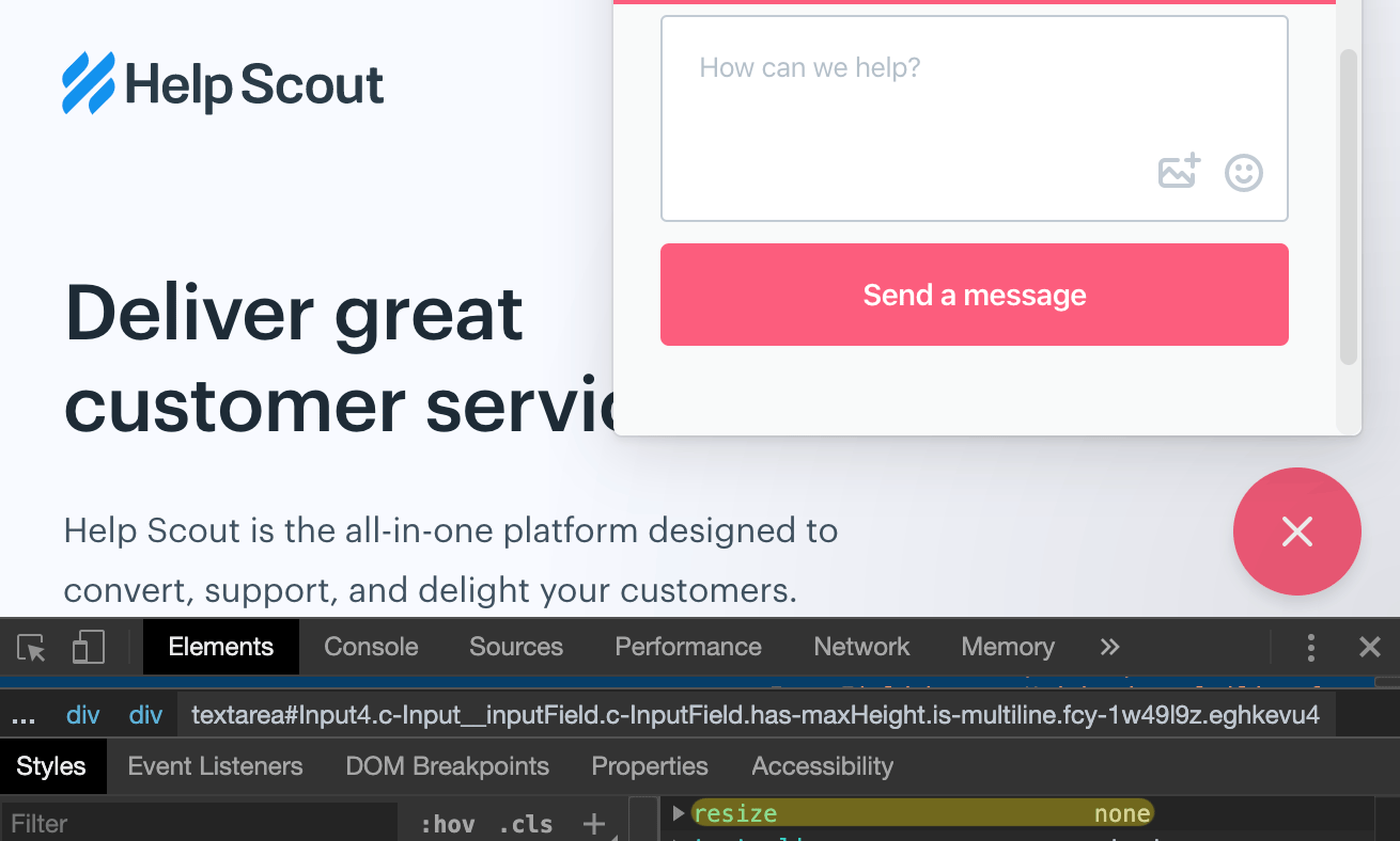 Help Scout uses CSS resize none for the chat widget textarea