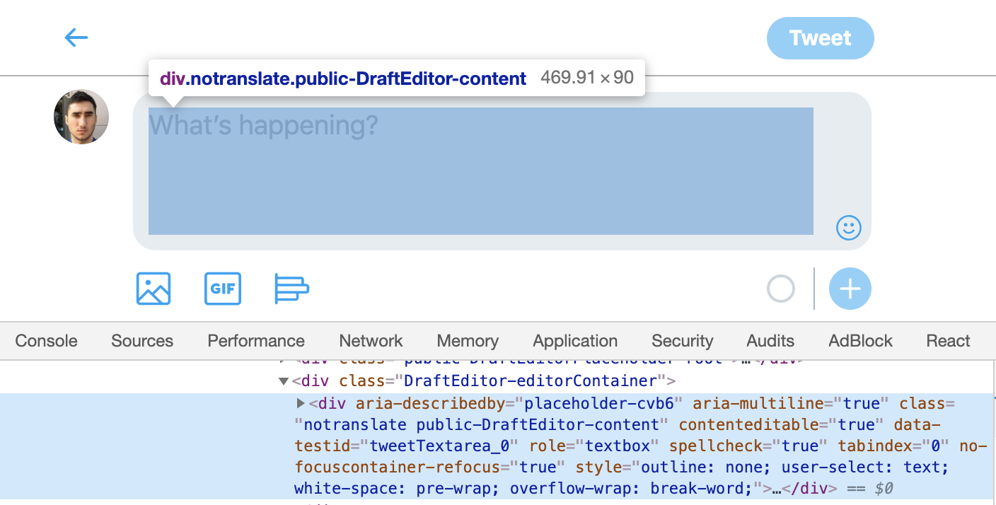 DevTools ARIA roles on mobile Twitter